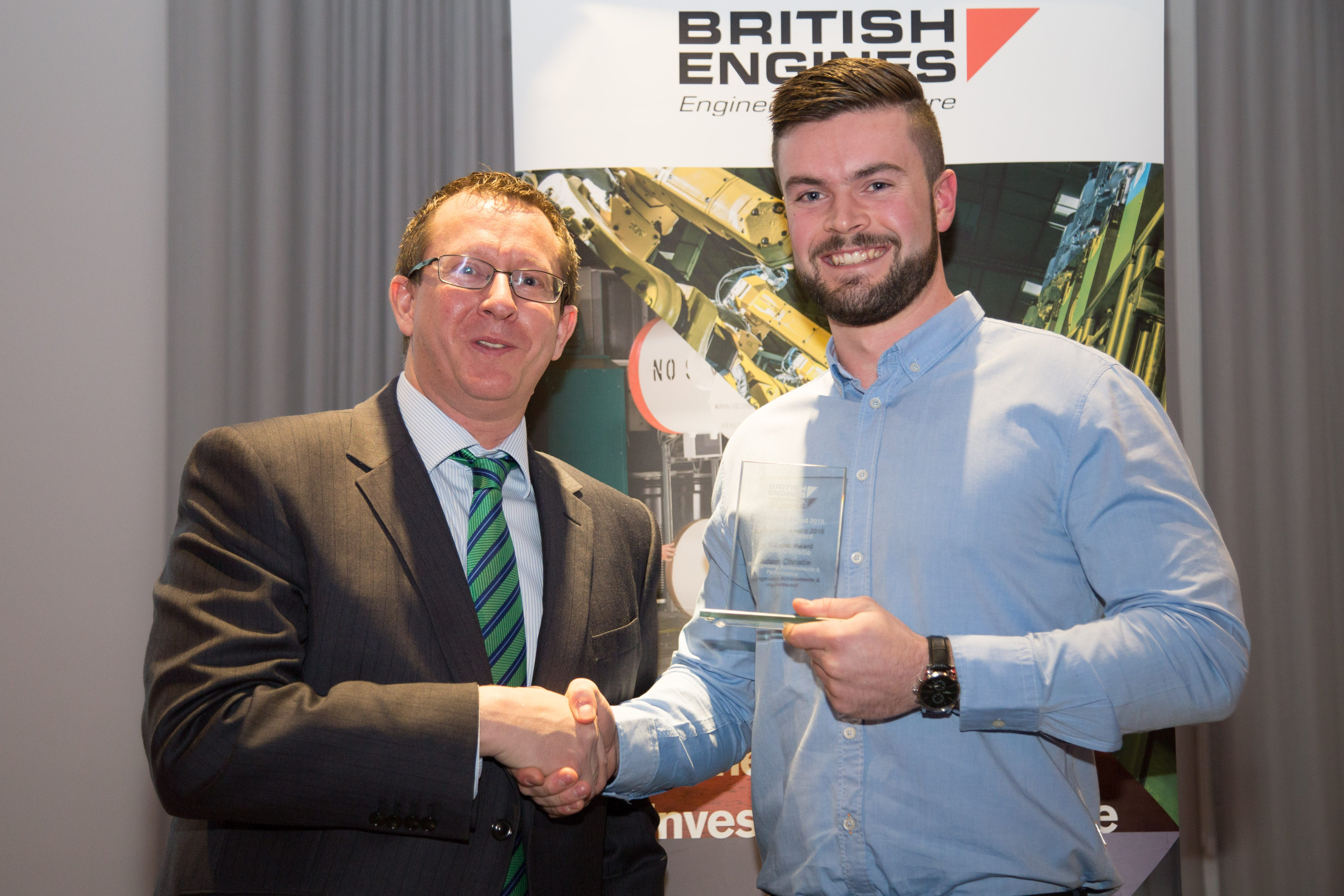 Adam winning the HT Lamb Award for his hard work as a British Engines apprentice developing his engineering career in the north east